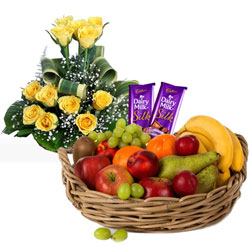 Memorable Selection of Fruits Basket with Chocolates and Roses