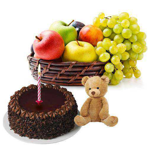 Memorable Present of Chocolate Cake, Small Teddy and Candles with Fresh Fruits Basket