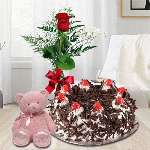 Exquisite 1 Lb Black Forest Cake with Single Red Rose and a Small Teddy Bear