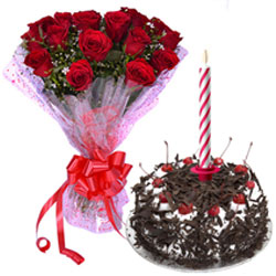 Gorgeous Red Roses Bouquet and Black Forest Cake with Candles