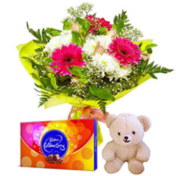 Aromatic Mixed Flowers Bouquet with Small Teddy and Cadbury Celebration for Midnight Delivery