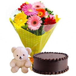Midnight Delivery of Mixed Gerberas Bouquet with Cute Teddy and Flavorful Chocolate Cake