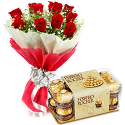 Premium Midnight Selection of Sweet Chocolates and Roses