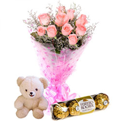 Delectable Ferrero Rocher with Teddy and Pink Roses Bunch