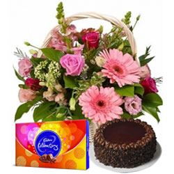 Midnight Surprise of Cadbury Celebration with Chocolate Cake and Seasonal Flowers in a Basket