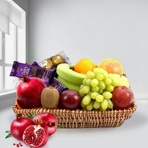 Sweet Combination of Mixed Fruits N Chocolates in a Basket