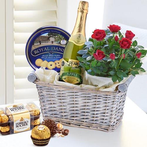 Cheerful Floral Bouquet N Gourmet Gift Basket