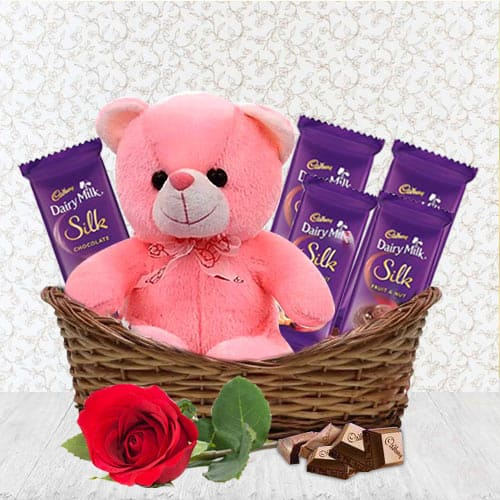 Blissful Chocolate Delight with Teddy N Rose