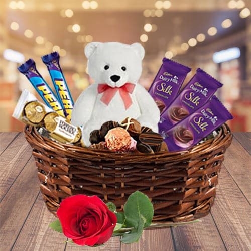 Signature Chocolate Gift Pack with Rose N Teddy in a Basket
