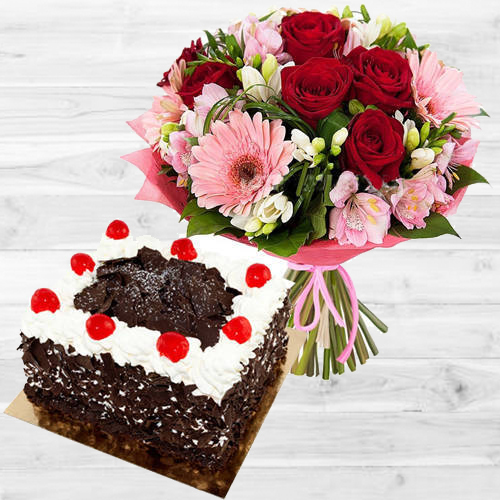 Artistic Multi-Colored Flowers Bouquet with 1 Lb Black Forest Cake