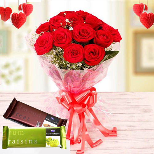 Classic Bunch of Red Roses with Cadbury Temptations