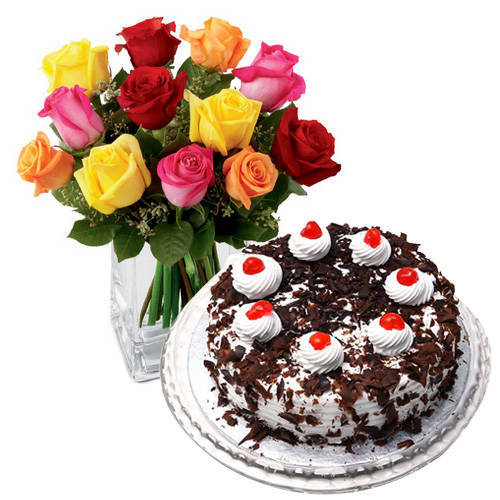 Stimulating Mixed Roses with Black Forest Cake from Taj or 5 Star Bakery