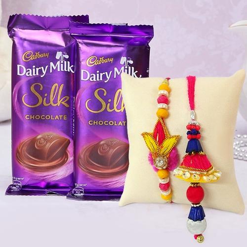 Cadburys Silk with Bhaiya Bhabhi Rakhi Set