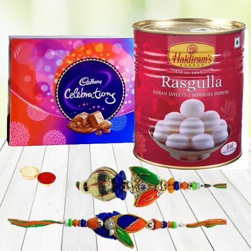 Cadbury Chocolates, Haldirams Rasgulla n Rakhi Set
