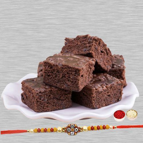 Brownies with Attractive Rakhi