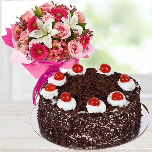 Mixed Flowers Arrangement N Black Forest Cake