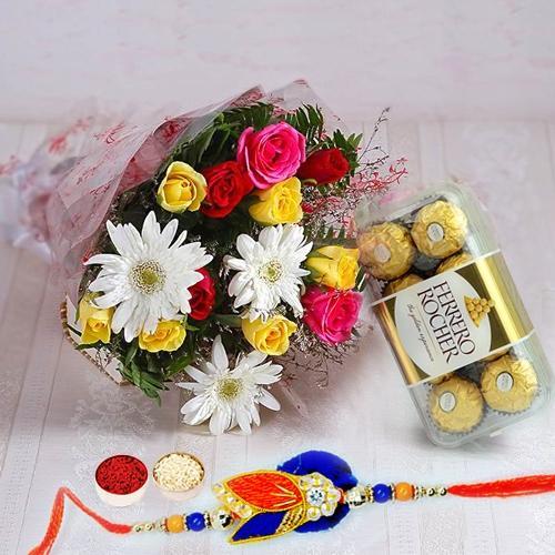 Ferrero Rocher Chocolates n Rakhi with Mixed Flower Bouquet