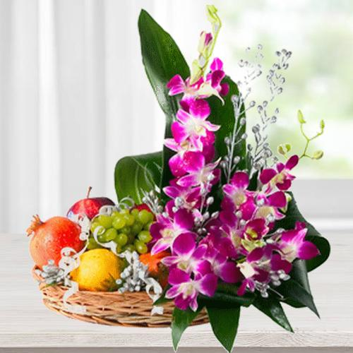 Beautiful Flowers with Fresh Fruits Basket