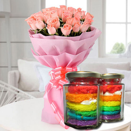 Mouthwatering Rainbow Jar Cakes with Pink Roses