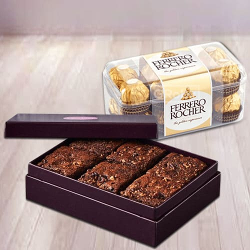 Finest Brownies with Ferrero Rocher Chocolates