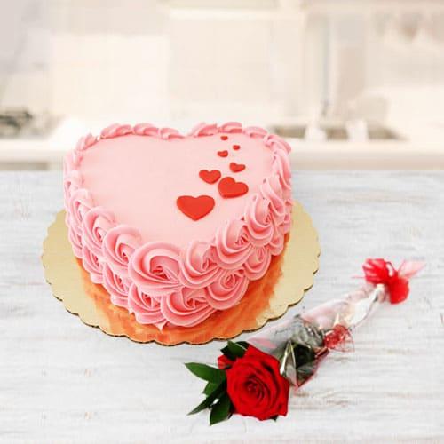 Luscious Strawberry Cake n Red Rose