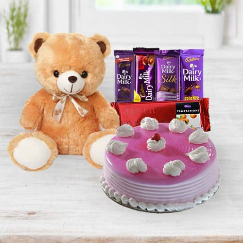 Tempting Strawberry Cake with Chocolates N Teddy
