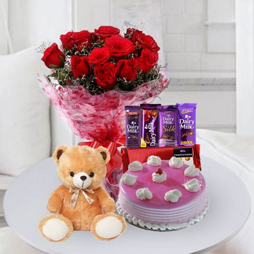 Tempting Cake with Chocolates, Teddy n Flowers for Birthday