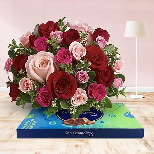Delicious Mixed Chocolates and Pink and Red Roses Arrangement