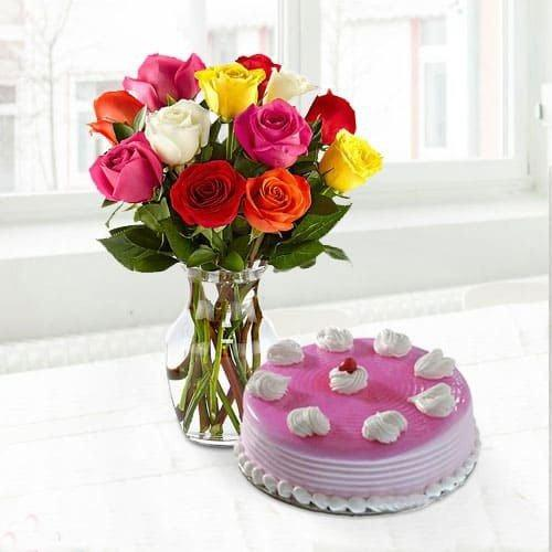 Tempting Cake n Roses for Mom