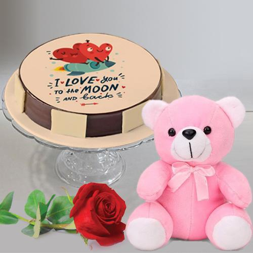 Wonderful Gift of Personalized Cake with Single Rose N Hugging Teddy