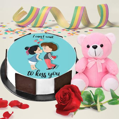 Flavored Kiss Day Special Photo Cake with Sweet Teddy N Rose