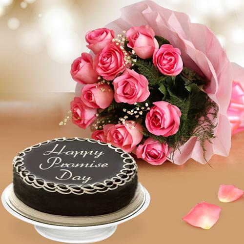 Exclusive Promise Day Combo of Dark Chocolate Cake N Pink Roses Bunch