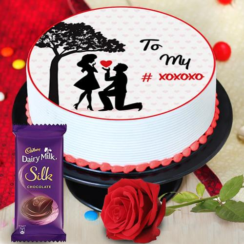 Attractive Propose Day Gift Combo of Personalized Cake, Chocolate N Red Rose