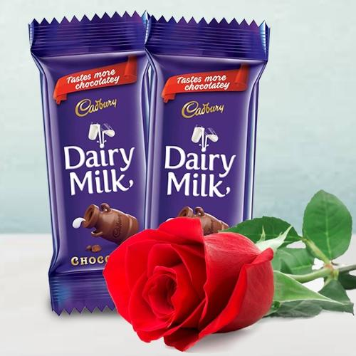 Exclusive Twin Cadbury Dairy Milk Chocolate Bar with a Single Red Rose