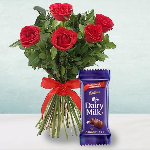 Exclusive 5 Red Roses Bunch with a Cadbury Chocolate Bar