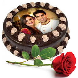 Pretty Single Red Rose with Chocolate Photo Cake