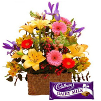 Assorted Flowers N Cadbury Dairy Milk Chocolate