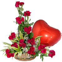Red Roses N Heart Shaped Balloon