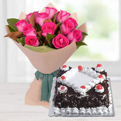 Bouquet of Pink Roses with Black Forest Cake