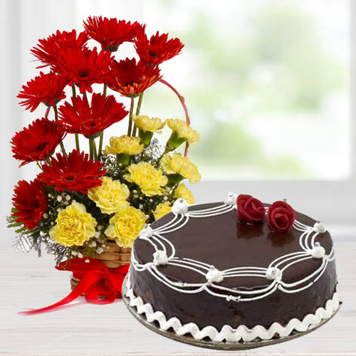 Passionate Carnations and Gerberas Arrangement with Dark Chocolate Cake