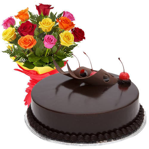 Special Mixed Roses with Chocolate Cake