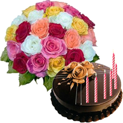Marvelous Mixed Roses Bunch with Chocolate Cake