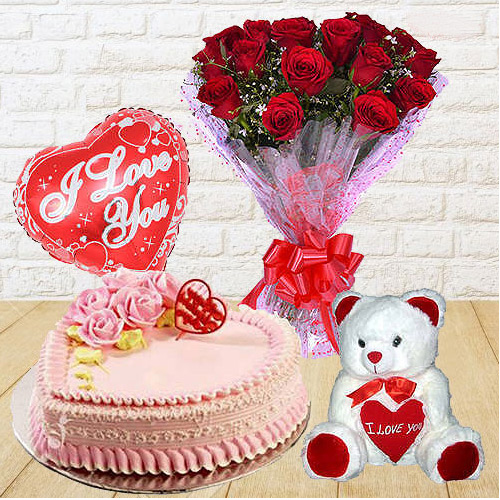 Amazing Dutch Red Roses Bunch with Teddy Bear, Love Cake and Heart Shaped Balloons