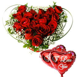 Dutch Red Roses in Heart Shape Arrangement with 2 Heart Shape Balloons