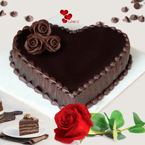 Love Shape Chocolate Cake N 1  Red  Rose