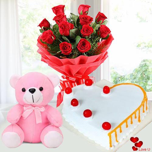 Dozen Red Roses with Teddy Bear n Cake