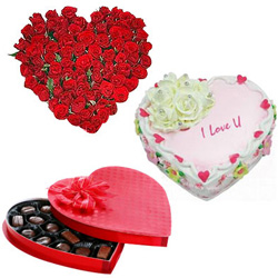 Magical 24 Red Roses with 1/2 Kg Heart Shaped Cake and Heart Shaped Chocolate Box