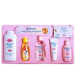 Attractive gift pack for a new born baby set from Johnson and Johnson