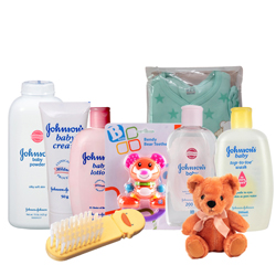 Dashing Johnson Baby Care Gift Arrangement with Teddy