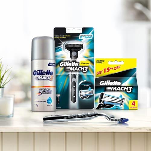 Attractive Gillette Mach3 Shaving Kit for Men